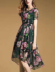 Women's Going out Street chic Chiffon Dress,Floral Round Neck Asymmetrical Short Sleeve Green Polyester Summer