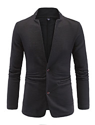 Men's Patchwork Casual / Formal / Plus Size Blazer,Cotton Long Sleeve Black