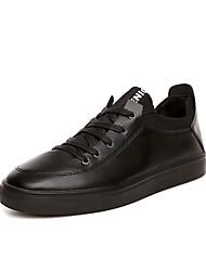 Herren-Sneaker-Lässig-PU-Flacher Absatz-Rundeschuh-Schwarz / Rot / Weiß