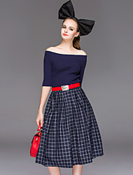 Boutique S Women's Going out Cute Spring Set Skirt,Solid Boat Neck ½ Length Sleeve Blue / Black Cotton Opaque