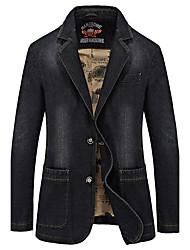 Men's Solid CasualCotton Long Sleeve Black / Blue