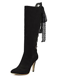 Women's Boots Winter Fashion Boots / Pointed Toe Leatherette Dress / Casual Stiletto Heel Ribbon Tie / ZipperBlack /