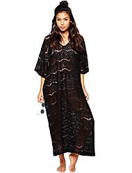 Women's Black All Over Lace Maxi Beach Dress