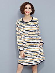 Damen Gestreift Einfach Lässig/Alltäglich T-shirt,Rundhalsausschnitt Frühling Langarm Beige Baumwolle Mittel