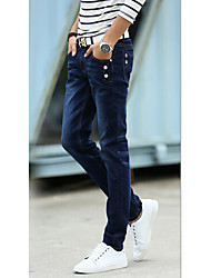 Men's Solid Casual JeansCotton Black / Blue / Gray
