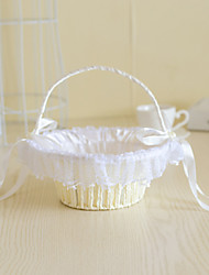 Rattan Flower Basket with Imitation Pearl for Wedding Flower Girl Basket(22*22*22)