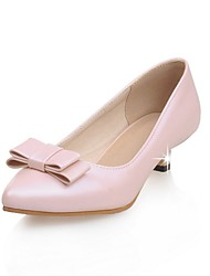 Women's Shoes Patent Leather Summer / Pointed Toe Heels Office & Career / Casual Low Heel Bowknot Pink / White / Almond
