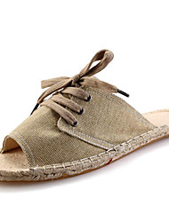Men's Slippers & Flip-Flops Spring / Summer / Fall Slippers Canvas Dress / Casual Flat Heel Braided Strap Beige