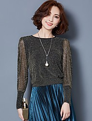 Daily Street chic Fall Blouse,Solid Round Neck Long Sleeve Blue / Red / Black / Green / Gold / Silver Polyester Medium