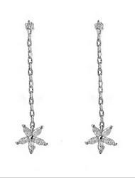 Women's Silver Zircon Star Tassel Drop Clip-on Earrings