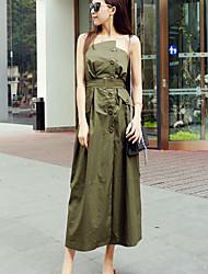 A tunica Vestito Da donna-Casual Sensuale Tinta unita Senza bretelline Medio Senza maniche Verde Poliestere Estate