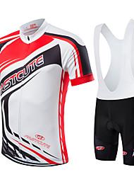fastcute Maillot et Cuissard à Bretelles de Cyclisme Femme Homme Enfant Unisexe Manches courtes VéloRespirable Séchage rapide