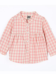 Baby Casual/Daily Houndstooth Blouse-Cotton-Fall-Pink