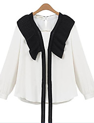 Women's Plus Size Street chic Fall Blouse,Patchwork Round Neck Long Sleeve Beige / Black Polyester Sheer