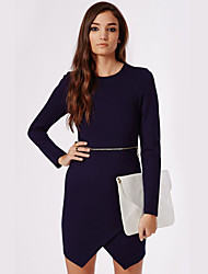 Women's Casual/Daily Simple Sheath Dress,Solid Round Neck Above Knee Long Sleeve Blue Polyester Spring