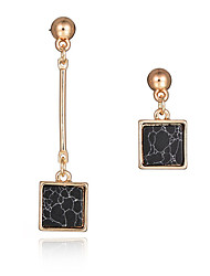 New Design 2016 Fashion Long Earrings 18K Gold Plated Natural Stone Square Asymmetrical Earrings Women Party Jewelry