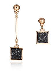 Novo design moda brincos longos 18k banhado a ouro pedra natural quadrado brincos assimétricos jóias festa feminina