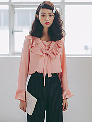 Women's Casual/Daily Simple Fall Blouse,Solid Round Neck Long Sleeve Pink / White Cotton Medium