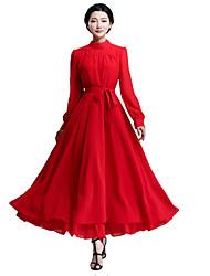 Mulheres Bainha / Chifon Vestido,Festa/Coquetel Simples / Fofo Sólido Colarinho Chinês Longo Manga Longa Vermelho / Preto Poliéster