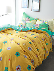 Yellow brief style 4piece bedding sets print duvet cover Sets 100% Cotton Bedding Set Queen Size
