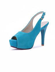 Feminino-Botas-Saltos / Peep Toe-Salto Agulha-Preto / Azul / Rosa-Courino-Casamento / Social / Casual