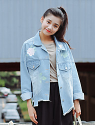 Women's Casual/Daily Simple Spring Denim Jackets,Solid Stand Long Sleeve Blue Cotton Medium