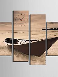 Moderne/Contemporain Autres Horloge murale,Rectangulaire Toile 30x 60cm(12inchx24inch)x2pcs+03 x 90cm(12inchx35inch)x2pcs Intérieur