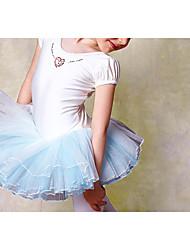 Ballet Dresses Children's Performance Cotton Pleated 1 Piece White Ballet Short Sleeve Natural Dress