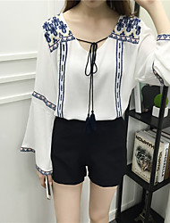 Women's Going out / Casual/Cute Spring / Fall Blouse,Print V Neck Long Sleeve Blue / Red / White / Black Cotton Thin