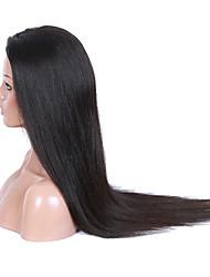 Femme Perruque Naturelles Dentelle Cheveux humains Full Lace Sans Colle Full Lace 130% Densité Raide Perruque Brun Noir de jais Noir