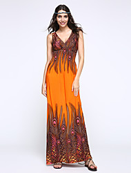 Women's Print Blue/Orange/Purple Dress,Maxi Deep V Sleeveless