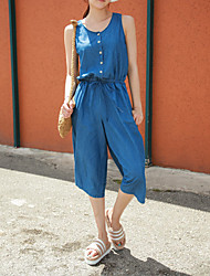 Women's Solid Jumpsuits,Simple Round Neck Sleeveless