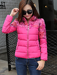 Women's Print Blue / White / Black / Yellow / Multi-color Padded Coat,Cute / Street chic Stand Long Sleeve