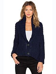 Normal Cardigan Femme Décontracté / Quotidien Chic de Rue,Couleur Pleine Bleu Col Rond Claudine Manches Longues Coton Printemps / Automne