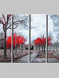 E-HOME® Stretched Canvas Art Curved Path And Red Tree Decorative Painting Set of 4