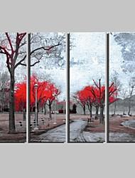 Paysage / Botanique Toile Quatre Panneaux Prêt à accrocher , Format Vertical