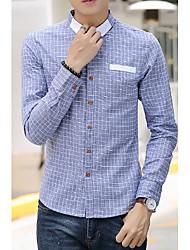 Men's Plaids Casual Shirt,Cotton Long Sleeve Blue / Red / Gray