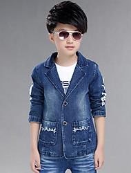 Boy's Cotton Spring/Autumn Fashion Cartoon Print Suit Collar Cowboy Outerwear Long Sleeve Denim Jacket Coat