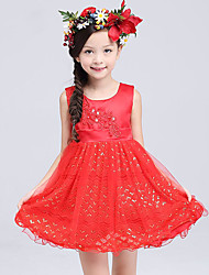 A-line Knee-length Flower Girl Dress - Cotton / Lace / Satin / Tulle Sleeveless Jewel with Appliques / Sash / Ribbon