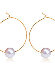 Hoop Earrings Pearl Alloy Fashion Circle Geometric Gold Silver Jewelry Wedding Daily Casual 1 pair