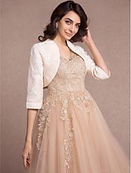 Women's Wrap Shrugs Half-Sleeve Lace Champagne Wedding / Party/Evening Wide collar Appliques Open Front