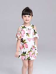 KIMOCAT  Girl's Casual/Daily Floral Dress,Cotton Summer Pink / Yellow