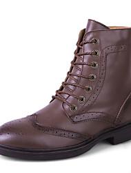 Unisex Boots Spring / Fall Comfort Cowhide Casual Flat Heel Black / Blue / Brown / White / Tan Walking