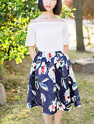 Women's Print Blue Skirts,Cute Knee-length