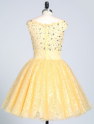 Cocktail Party Dress Ball Gown Bateau Short / Mini Lace / Sequined with Appliques / Beading / Sequins