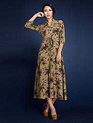 BORME® Women's V Neck 3/4 Length Sleeve Maxi Dress-LYQ003YE