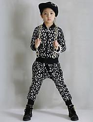 Girl's Cotton Spring/Autumn Leopard Print Hip-hop Costume Long Sleeve Coat And Hallen Pants Sport Suit Two-piece Set