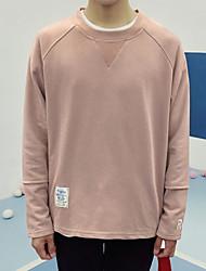 Herren Pullover-Einfarbig Freizeit Baumwolle Lang Schwarz / Rosa / Weiß / Grau