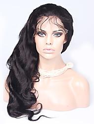 """14 """"-18"""" 6a peruanisches volle Spitzeperücke mit dem Babyhaar Körperwelle wellig Perücken für schwarze Frauen gebleichte Knoten"""