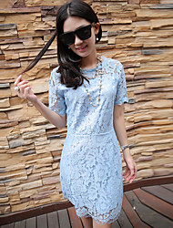 Women's Going out Simple Lace Dress,Jacquard Round Neck Above Knee Short Sleeve Blue / Black Polyester Summer